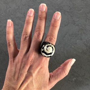 Black & White Wood and Shell Spiral Statement Ring